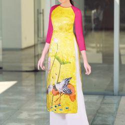 áo dài họa tiết hoa sen giá sỉ