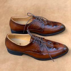 giày nam công sở buộc dây có dập vân da bò thật giá sỉ