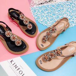 Giày sandal đính phụ kiện hậu thun siêu xinh giá sỉ
