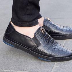 Giày lười nam chất da bò dập vân đế chắc chắn mẫu hót năm 2019 giá sỉ
