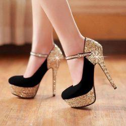 Giày sandal cao gót bít mũi quai kim tuyến giá sỉ