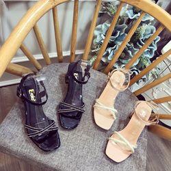 Giày sandal cao gót bảng chéo giá sỉ
