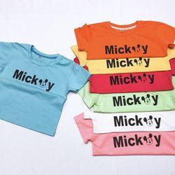 Áo thun lửng bé gái màu size đại Mickey giá sỉ