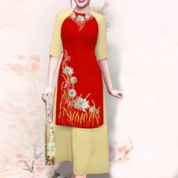 sét áo dài cách tân hoa cúc màu đỏ giá sỉ