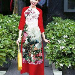 sét áo dài chim công lụa in 3D tay phối màu tím sen giá sỉ, giá bán buôn
