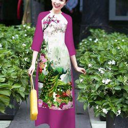 sét áo dài chim công lụa in 3D tay phối màu tím sen giá sỉ