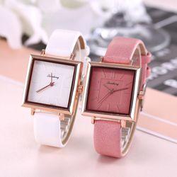 Đồng hồ nữ Qicaihong mặt vuông dây da cao cấp hàng đẹp thời trang giá sỉ