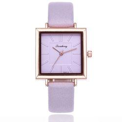 Đồng hồ nữ Qicaihong mặt vuông dây da cao cấp hàng đẹp thời trang giá sỉ, giá bán buôn