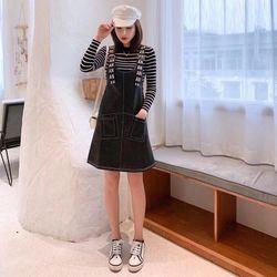 Đầm Yếm Jean Đen Gài Dây Chữ Xì Teen giá sỉ
