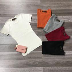 Áo len nữ dệt tay ngắn cổ tròn giá sỉ, giá bán buôn