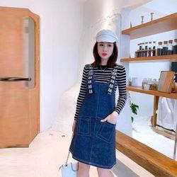 Đầm Yếm Jean Xanh Gài Dây Chữ Năng Động giá sỉ