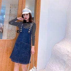 Đầm Yếm Jean Xanh Gài Dây Chữ Năng Động giá sỉ, giá bán buôn