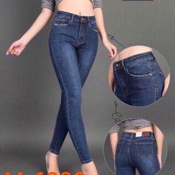 Quần jean nữ trơn xanh đậm