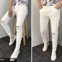 Jean nam trắng rách và trơn