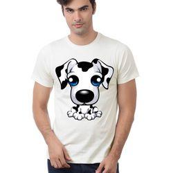 Áo thun hình cún đáng yêu cổ tròn in truyền nhiệt