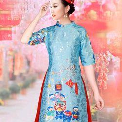 Áo dài cách tân họa tiết tết đoàn viên ÁO VÀ váy tặng kèm mấn giá sỉ, giá bán buôn