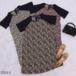 Đầm suông lụa họa tiết da beo 2841 giá sỉ