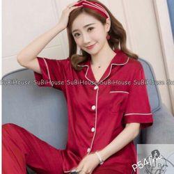 Đồ Bộ Pijama Lụa Satin Quần Dài Màu Viền giá sỉ