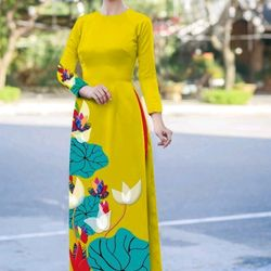 Áo dài họa tiết hoa sen kèm quần giá sỉ