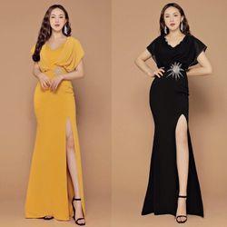 Đầm Dạ Hội Xẻ Tà Tay Cánh Dơi Cao Cấp giá sỉ