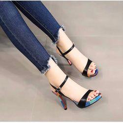 Giày sandal cao gót nhọn 10f hậu hở L phối màu siêu xinh giá sỉ