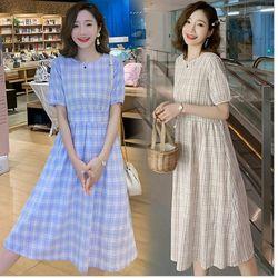 Đầm bầu caro xanh giá sỉ