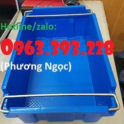 Thùng nhựa đặc có quai sắt hộp nhựa công nghiệp khay nhựa cơ khí giá sỉ