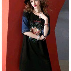 Đầm jean đính đá phối thun cao cấp giá sỉ giá bán buôn giá sỉ
