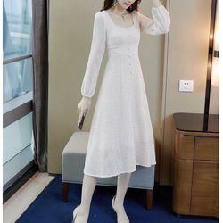 Đầm dáng dài cao cấp màu trắng giá sỉ
