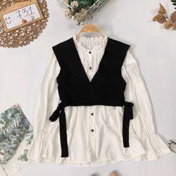 Set áo sơmi cổ bèo crop len giá sỉ, giá bán buôn