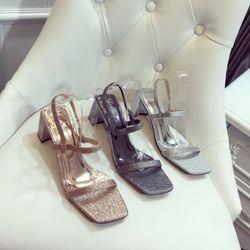 Giày sandal gót vuông nhũ mới sang chảnh giá sỉ