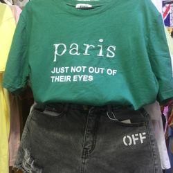 Áo thun quảng châu thêu chữ paris