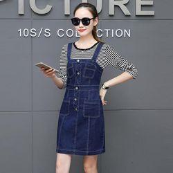 Đầm Yếm Jean Đính Nút Viền Kiểu giá sỉ