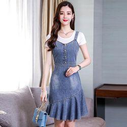 Đầm Yếm Jean Đuôi Cá Xéo giá sỉ