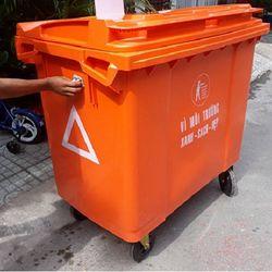 Xe thu gom rác 660 lít nhựa HDPE giá sỉ