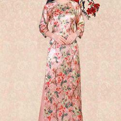 Áo dài truyền thống hoa tiết hoa hồng áo kèm quan giá sỉ