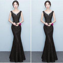Đầm Đen Dự Tiệc Ren Lót Kim Tuyến Đính Đá Cổ Tim giá sỉ