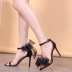 Giày sandal cao got nơ lưới cao cấp giá sỉ