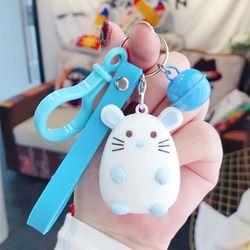 Móc khóa Silicon chuột trắng chuông dây mini