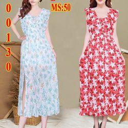Đầm Maxi hoạ tiết bông màu xẻ tà bèo giá sỉ