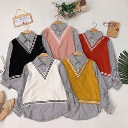 Áo sơmi phối len móc giả set- Siêu bán đắt về thêm rồi nè Áo sơmi kẻ sọc giả set giá sỉ