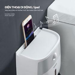 Hộp đựng giấy vệ sinh ECOCO gắn tường 2 ngăn không cần khoan tường