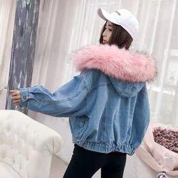 Áo khoác bò mũ lông 2 lớp siêu đẹp