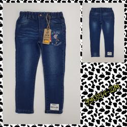 990214-ZM1- Quần jean da cá bé gái dài đại legging thêu hoa chữ xanh đậm size nhỡ 7t-14t ri88579-ZM1 giá sỉ