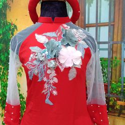 Áo dài cách tân kết hoa lá cầu kỳ giá sỉ, giá bán buôn