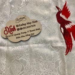 Set áo dài cách tân gấm taffta kết chim phụng giá sỉ, giá bán buôn
