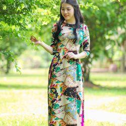 Áo dài truyền thống lụa họa tiết hình học giá sỉ