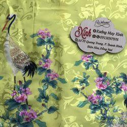 Set áo dài Gấm Nhật vàng in họa tiết 3D chim hạc giá sỉ, giá bán buôn