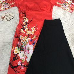 Set áo dài cách tân gấm tơ nền đỏ in hoa giá sỉ, giá bán buôn