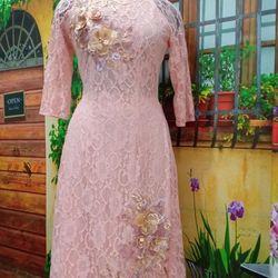 Set cách tân ren hồng đính hoa nổi giá sỉ, giá bán buôn